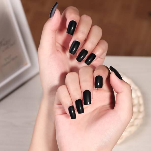 24pcs Plain Fake Nail, Black