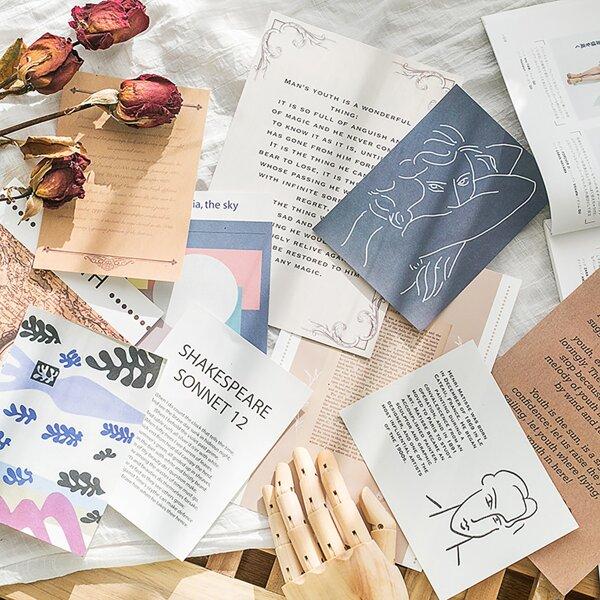 17pcs Mixed Pattern Random Material Paper, Multicolor