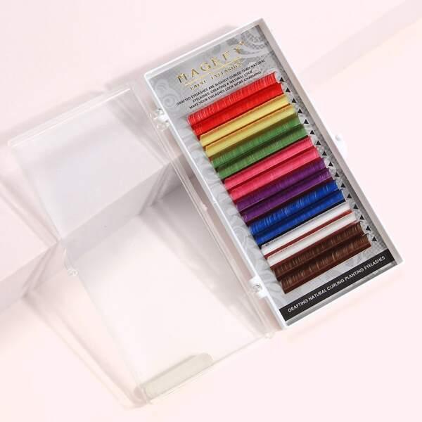 1box Colorful Individual Fake Eyelashes, Multicolor