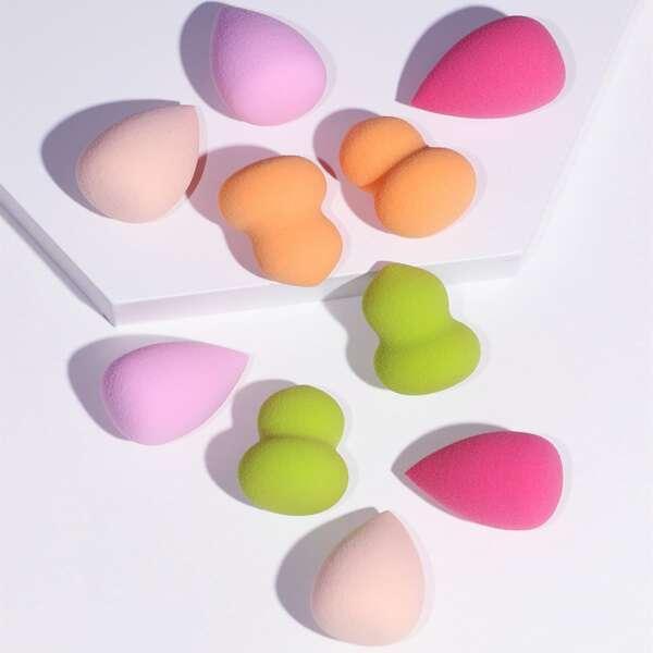 10pcs Mini Makeup Sponge Set, Multicolor