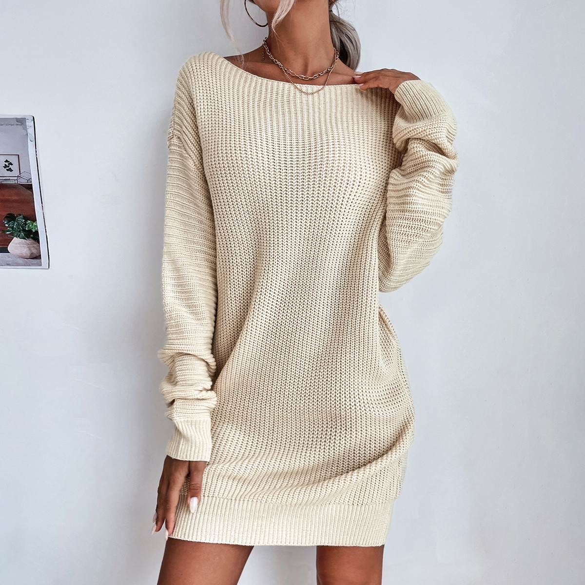 Boat Neck Drop Shoulder Sweater Dress Without Belt, SHEIN  - buy with discount