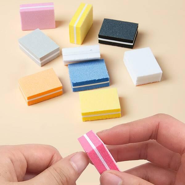 10pcs Sponge Nail File, Multicolor