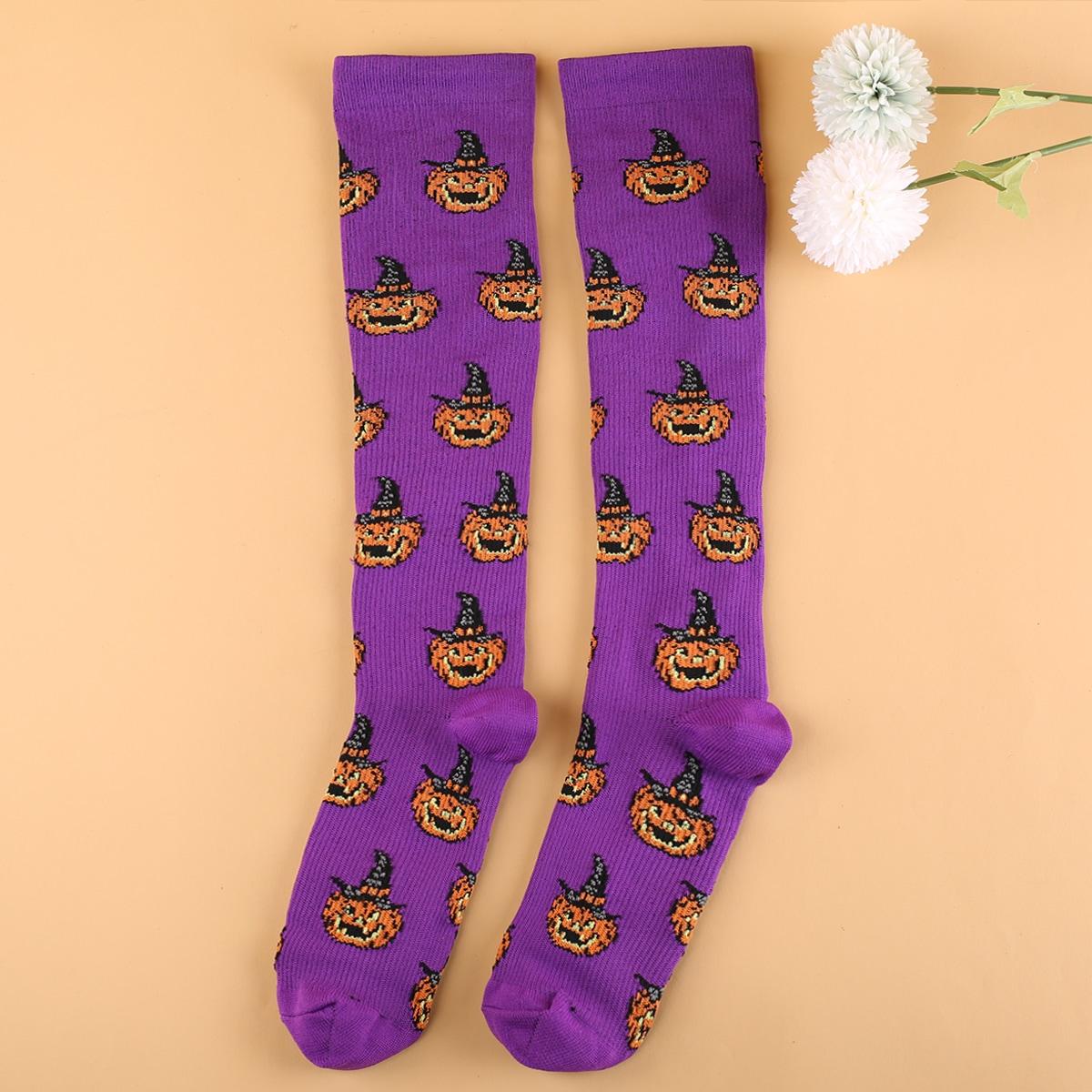 Носки выше голени на хэллоуин тыква с рисунком