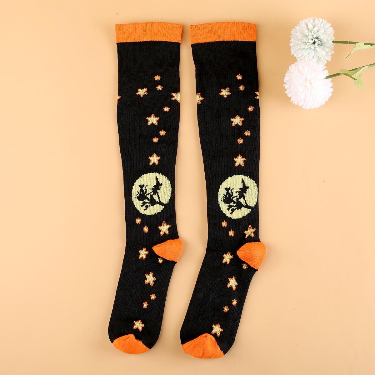 Носки выше голени на хэллоуин с рисунком