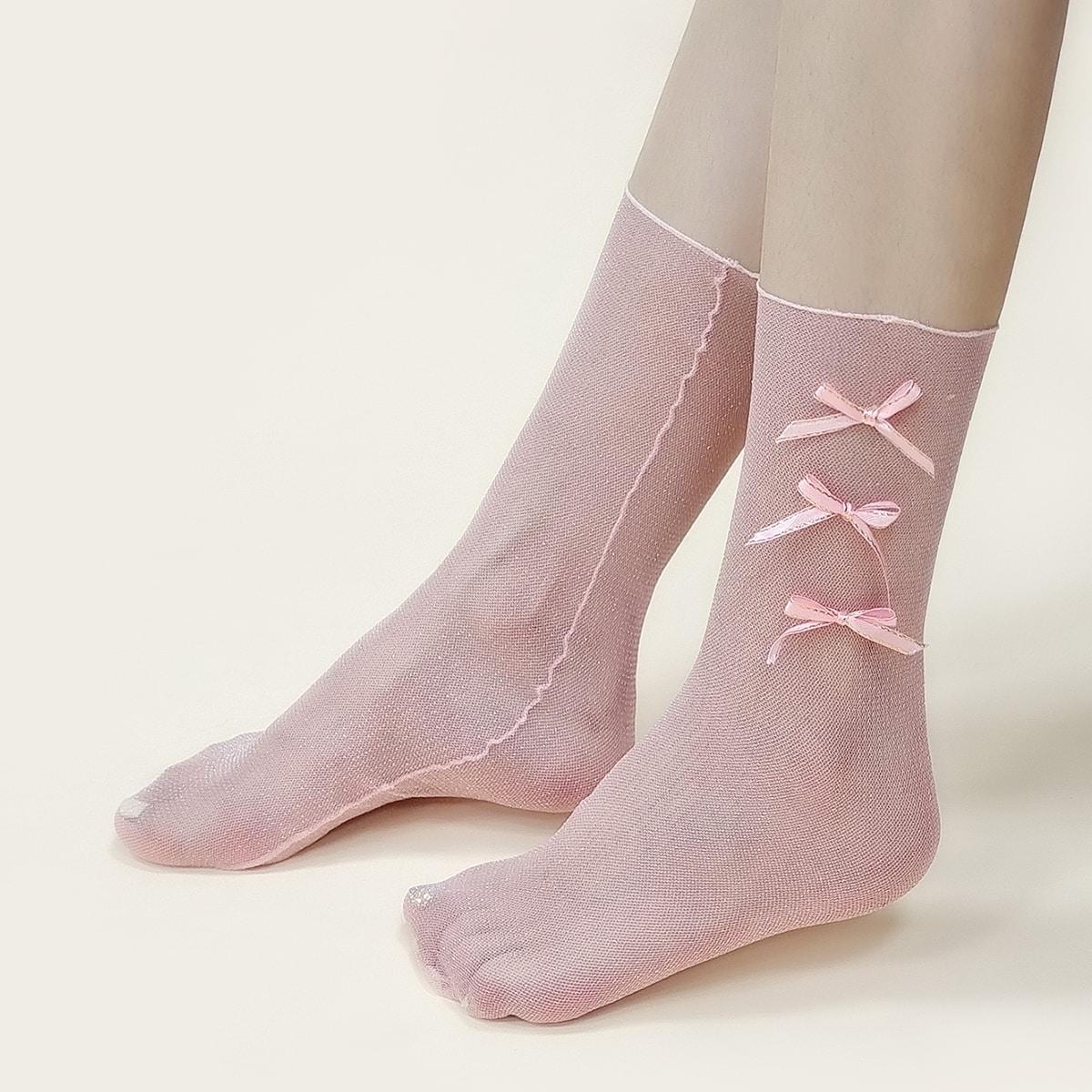 Носки до середины голени с бантом