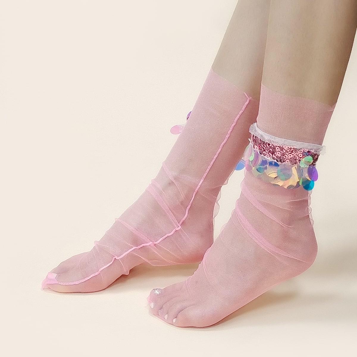 Носки до середины голени с блестками