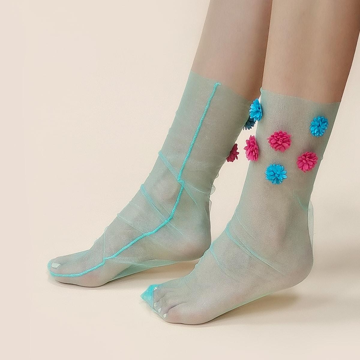Носки для экипажа с цветочным декором