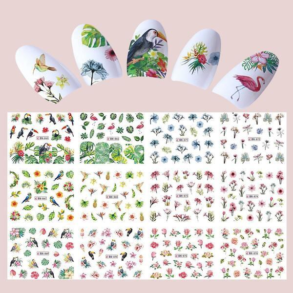 12sheets Plant Pattern Nail Art Sticker, Multicolor