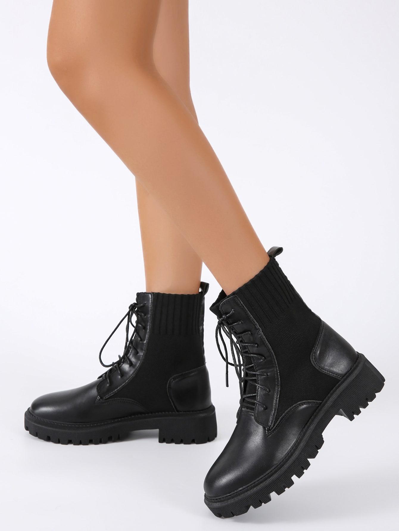Minimalist Lace Up Front Combat Boots