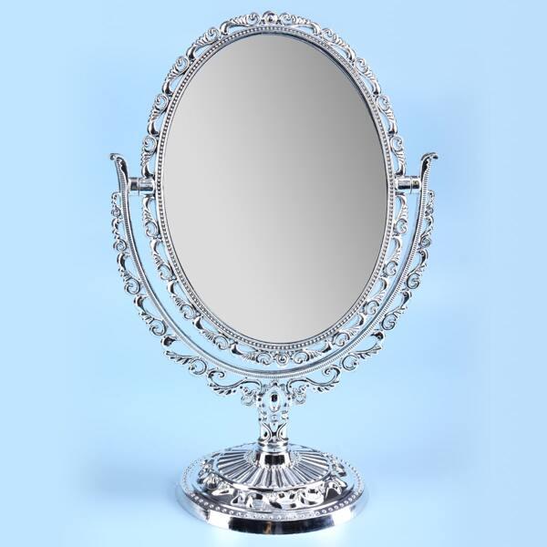Adjustable Angle Desktop Mirror, Silver