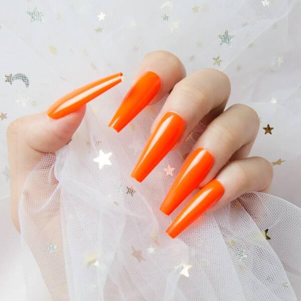 24pcs Plain Fake Nail & 1sheet Tape, Orange
