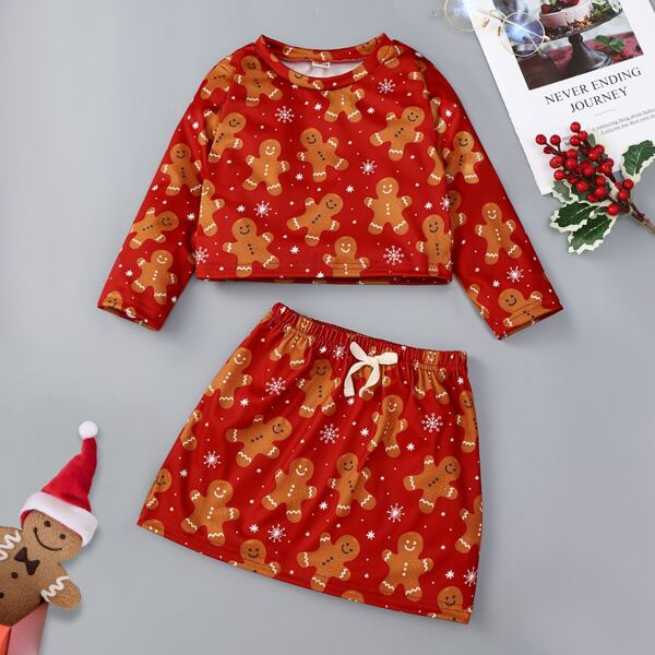 Toddler Girls Christmas Print Top & Bow Front Skirt, Multicolor