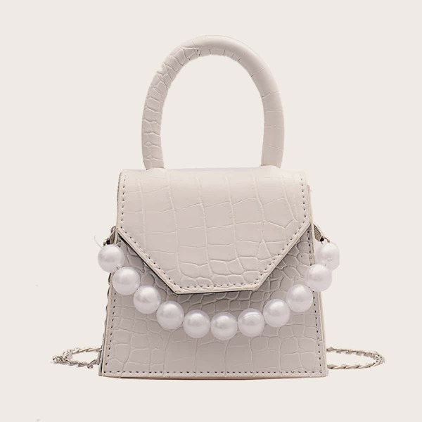 Faux Pearl Decor Croc Embossed Flap Square Bag, White