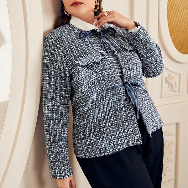 Plus Plaid Pattern Flap Detail Tie Front Tweed Jacket, Blue and white