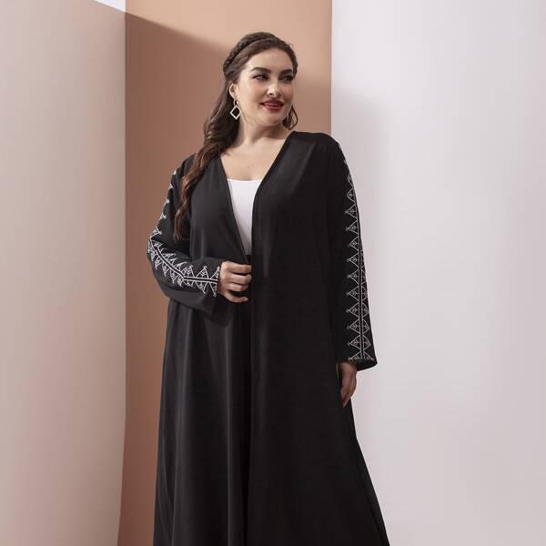 Plus Geometric Embroidery Open Front Abaya, Black