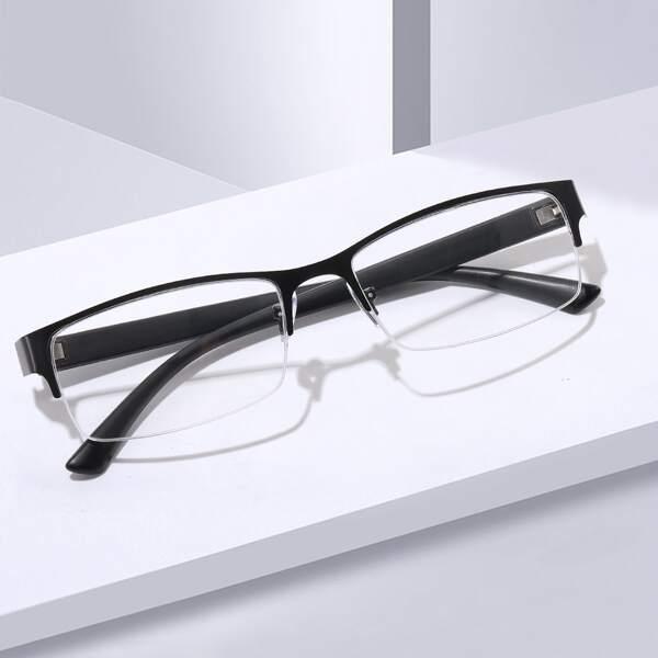 Men Square Frame Eyeglasses, Black