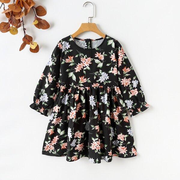 Girls Floral Print Flounce Sleeve Dress, Multicolor