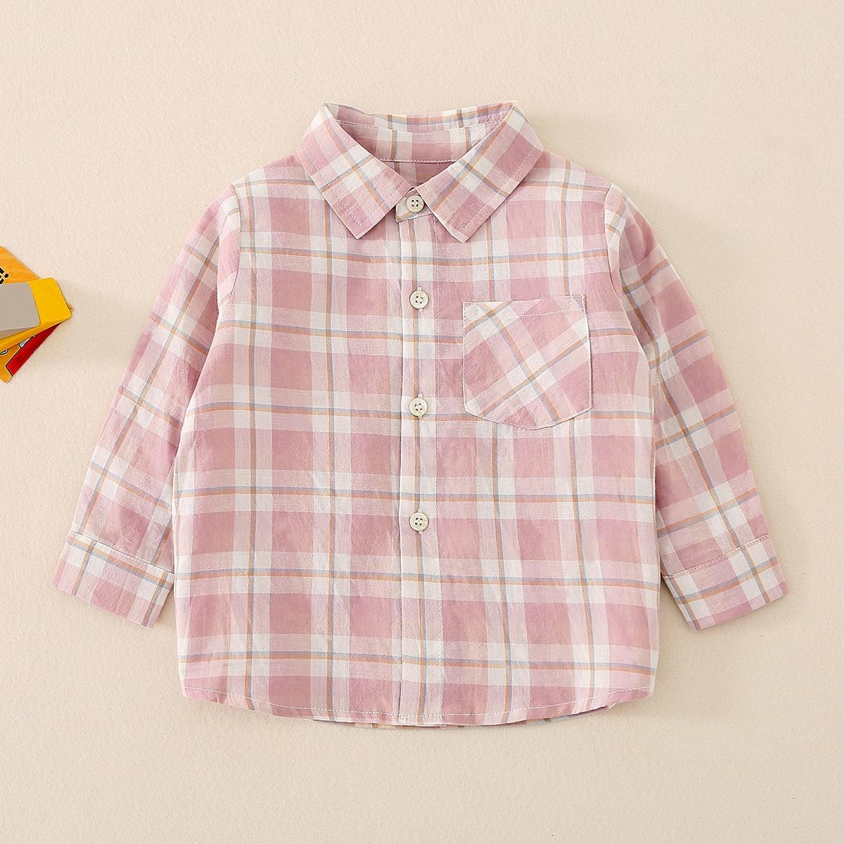 с карманами Пуговица Клетка Институтский Рубашки для мальчиков