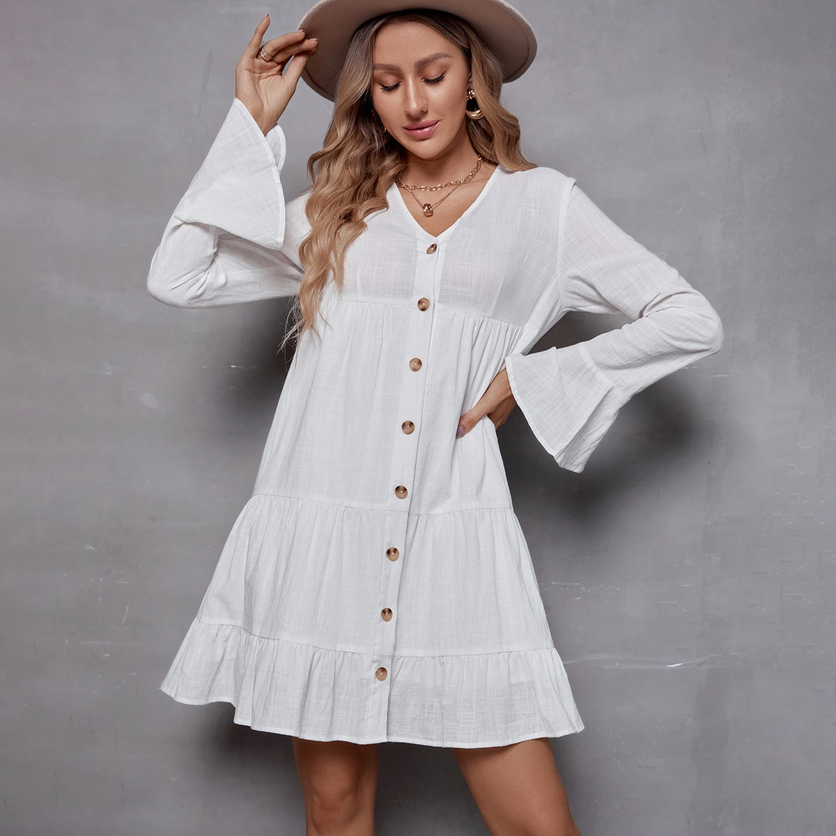 Flounce Sleeve Button Front Smock Dress