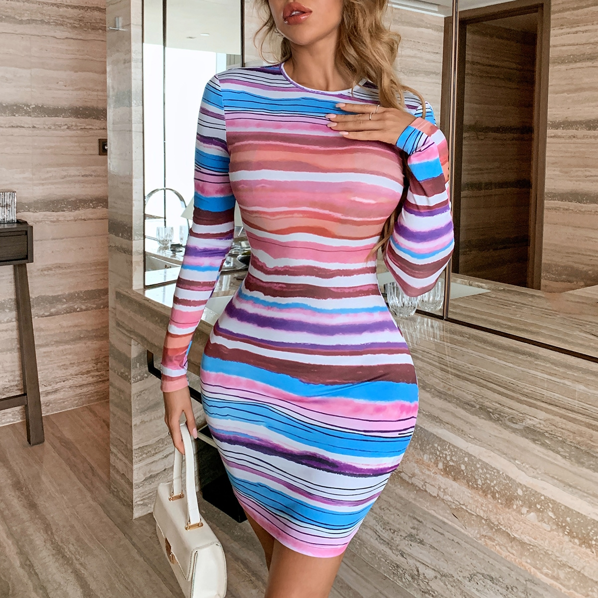 Striped Backless Tie Back Bodycon Dress