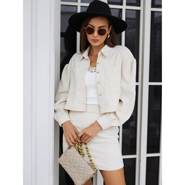 Solid Dual Pockets Button Through Corduroy Jacket & Skirt, Beige