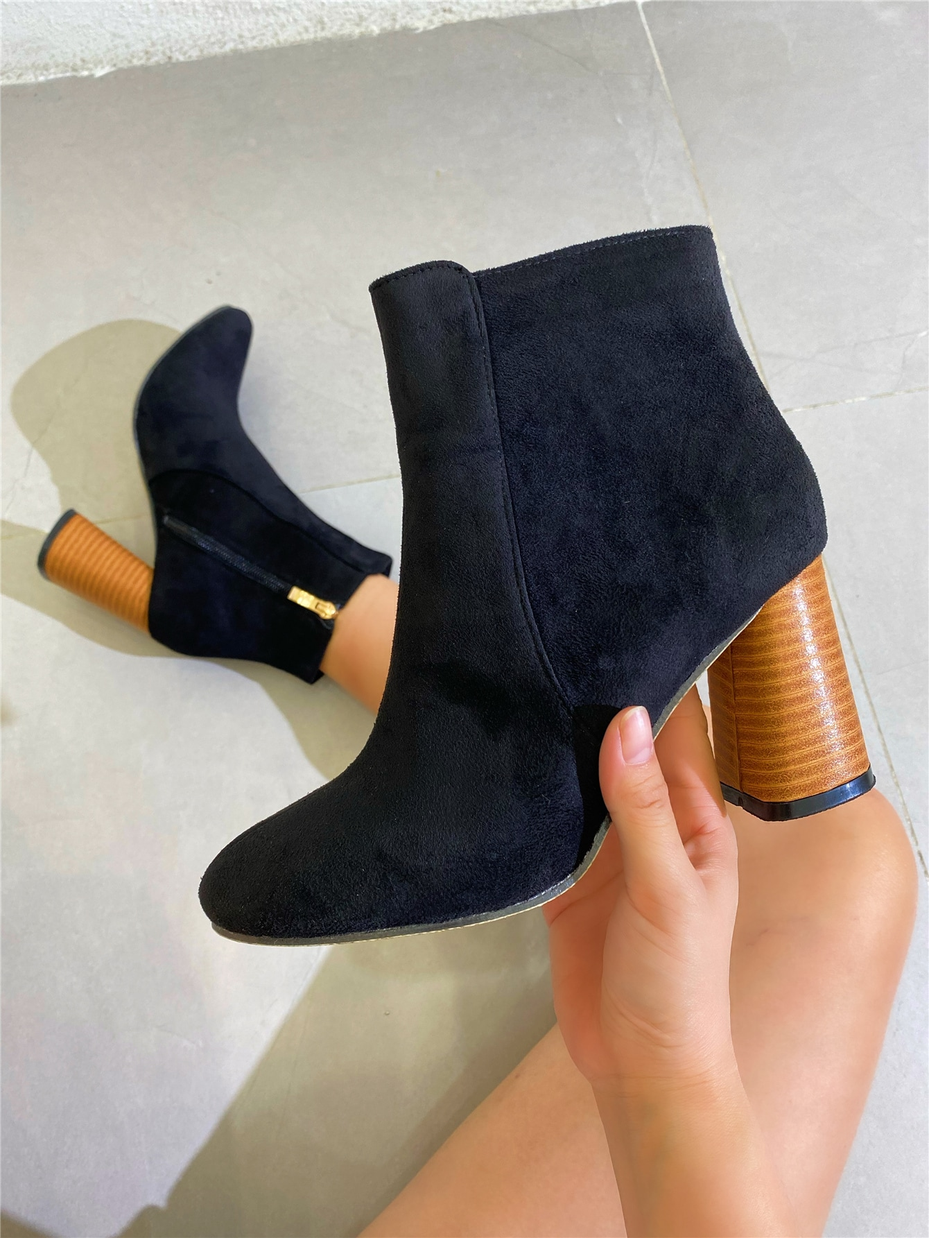 Side Zip Suede Chunky Classic Boots