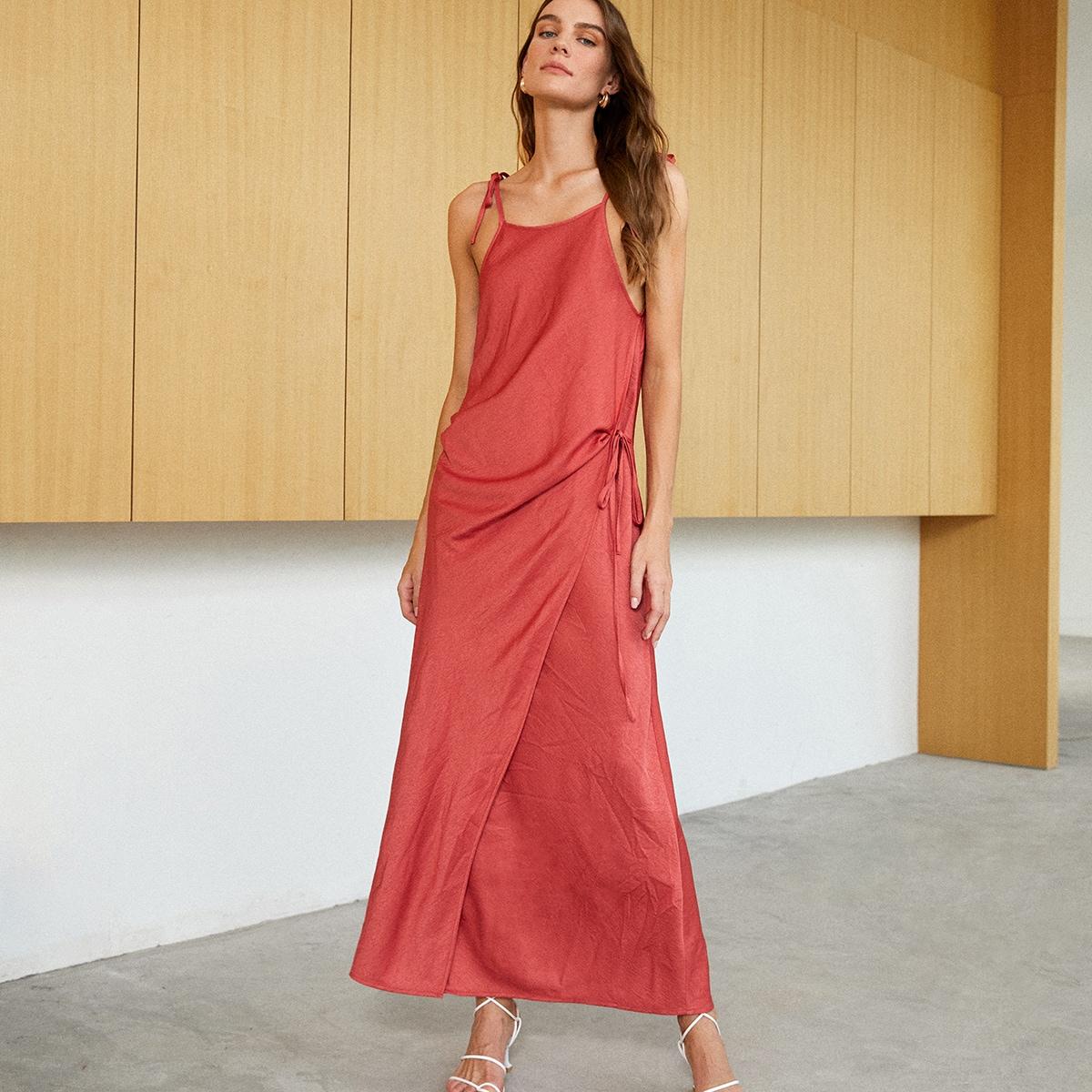 Slit Hem Tie Side Cami Dress, SHEIN  - buy with discount