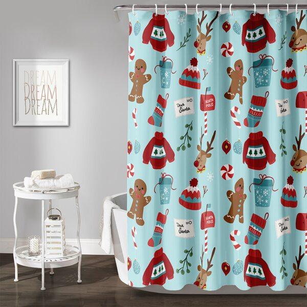 Christmas Print Shower Curtain, Multicolor