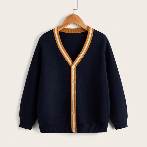 Boys Striped Trim Button Front Cardigan, Navy blue