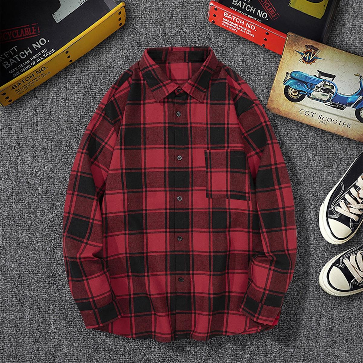 Мужской Рубашка в клетку с карманом