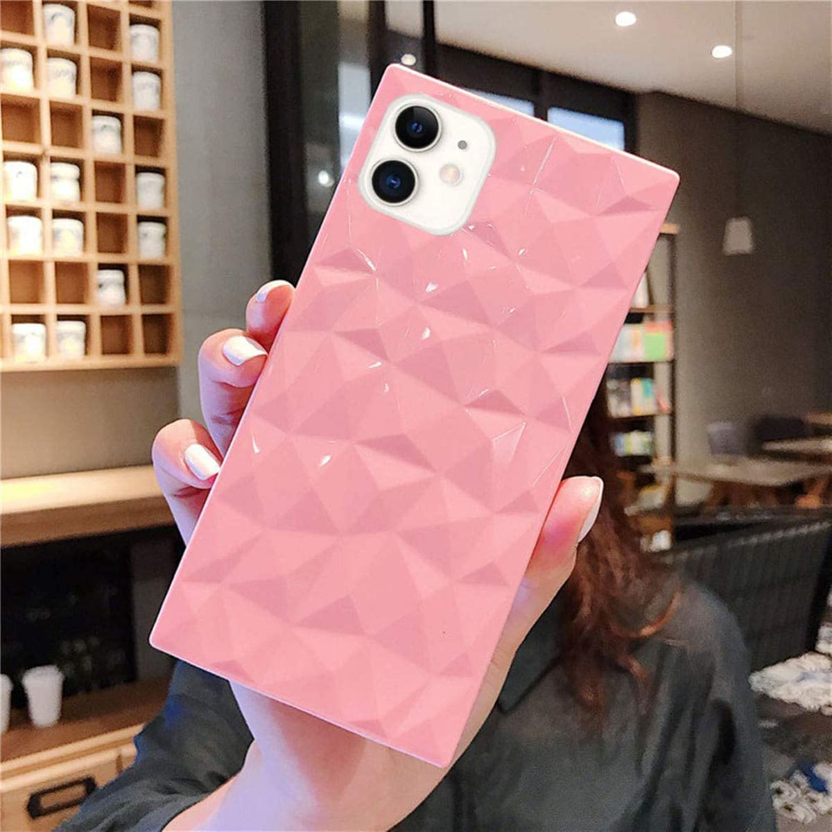 Diamond Textured Phone Case, SHEIN  - buy with discount