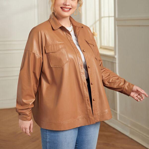 Plus Drop Shoulder Flap Pocket PU Leather Jacket, Ginger