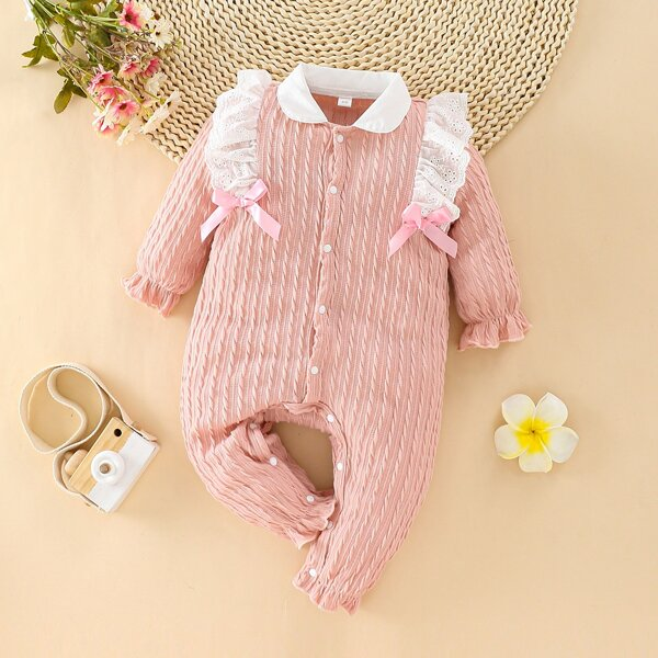 Baby Contrast Collar Eyelet Embroidery Ruffle Bow Front Jumpsuit, Pink