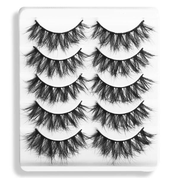 5pairs Volumized False Eyelashes, Black
