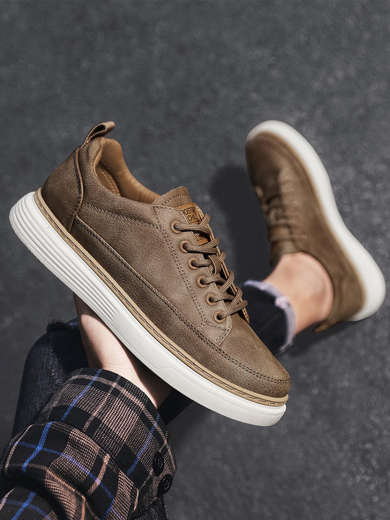 Men Letter Patch Lace-Up Front Skate Shoes
