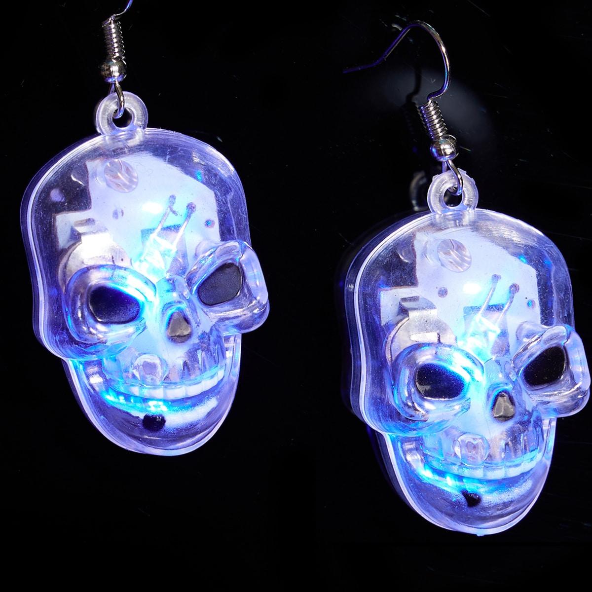 2pcs Halloween Skull LED Earring Light