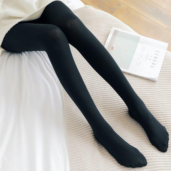 1pair Solid Tights, Black