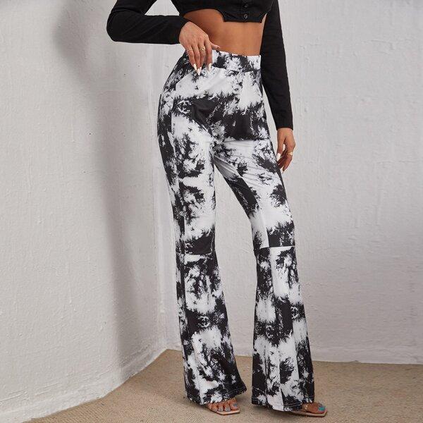 High Waist Tie Dye Flare Leg Pants, Black and white