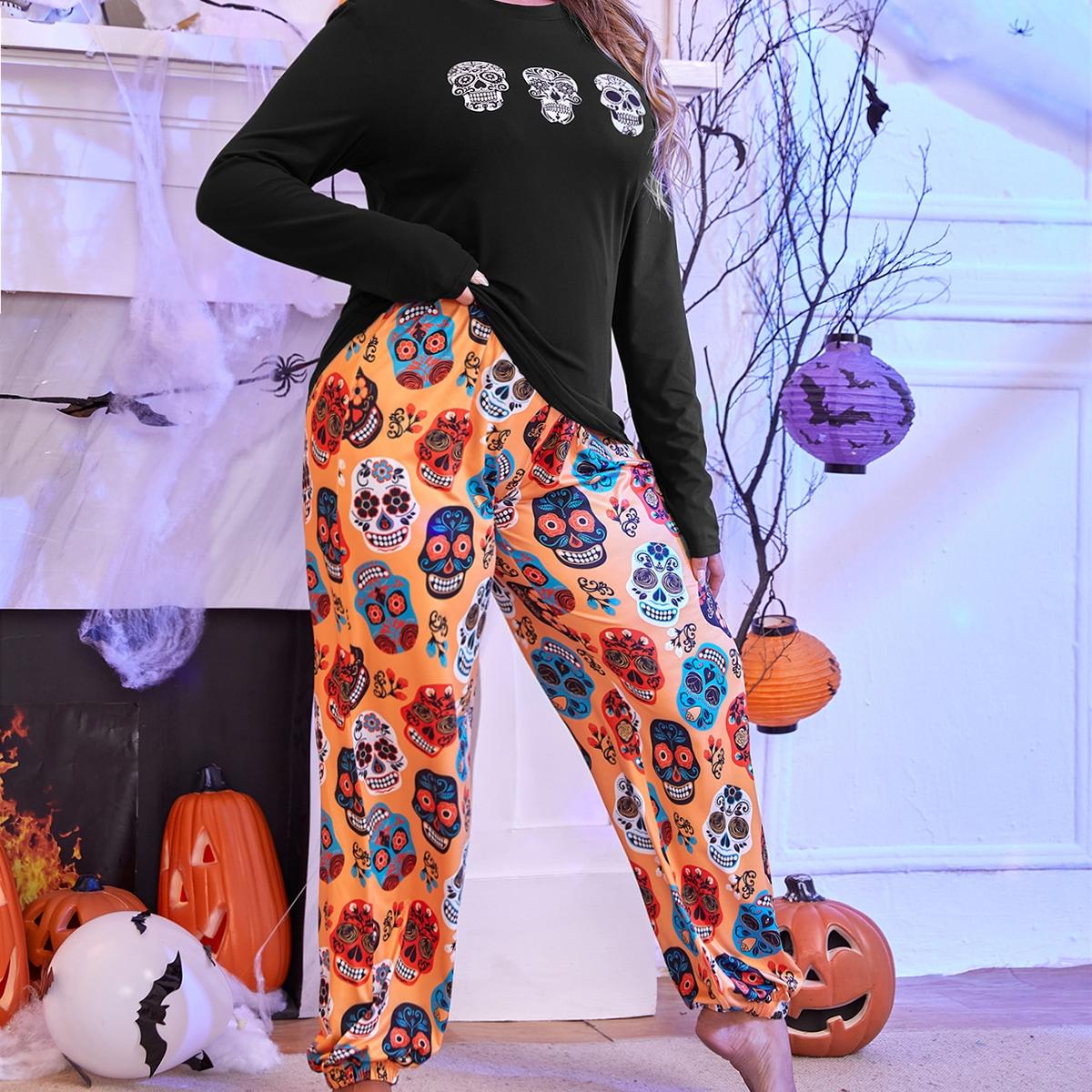 размера плюс Пижама на хэллоуин с принтом черепа