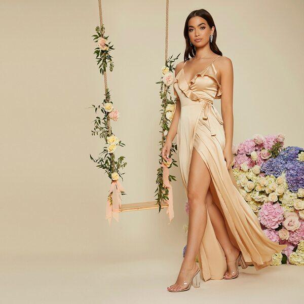Ruffle Trim Tie Side Satin Prom Dress, Champagne