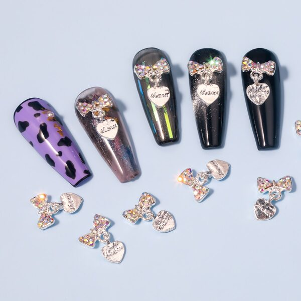 10pcs Rhinestone Bowknot Nail Art Decoration, Silver