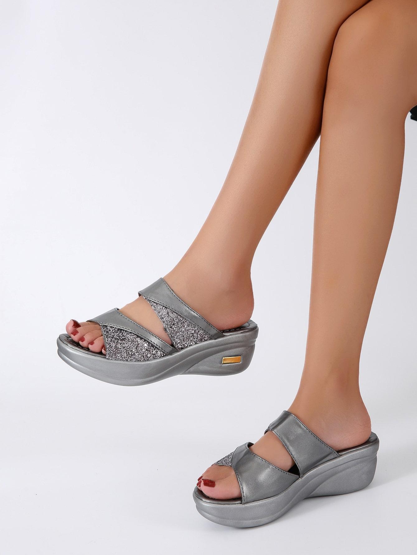 Glitter Wedge Sandals