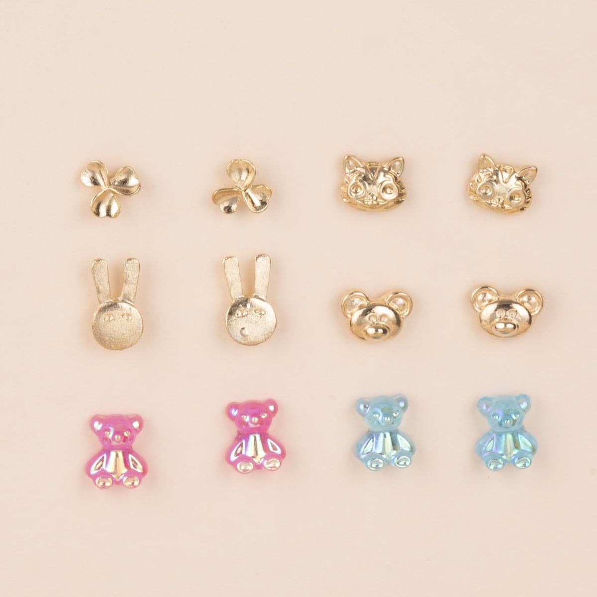 6pairs Cartoon Stud Earrings