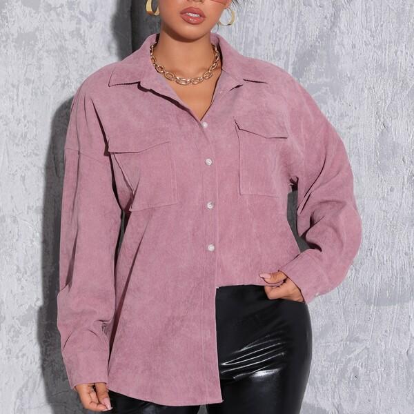 Plus Drop Shoulder Flap Pocket Corduroy Coat, Dusty pink