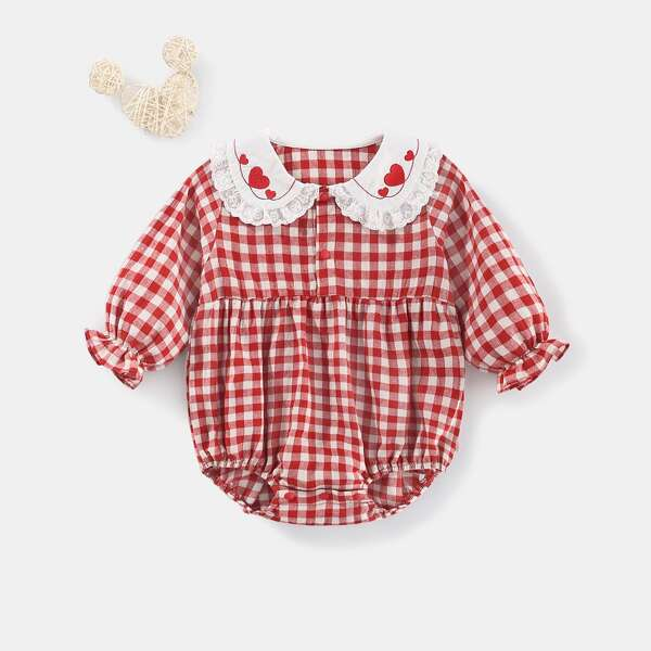 Baby Gingham Heart Embroidered Frilled Peter-pan Collar Flounce Sleeve Bodysuit, Red and white