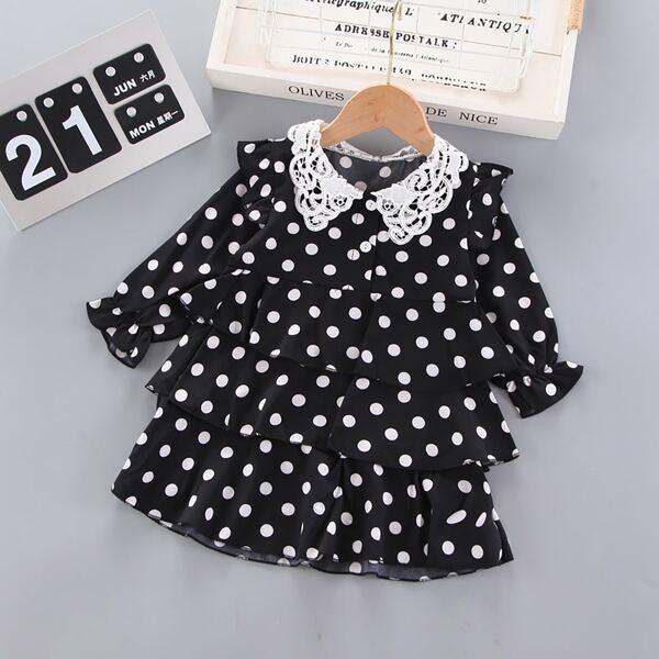 Toddler Girls Polka Dot Print Peter-pan Collar Flounce Sleeve Layered Hem Dress, Black and white