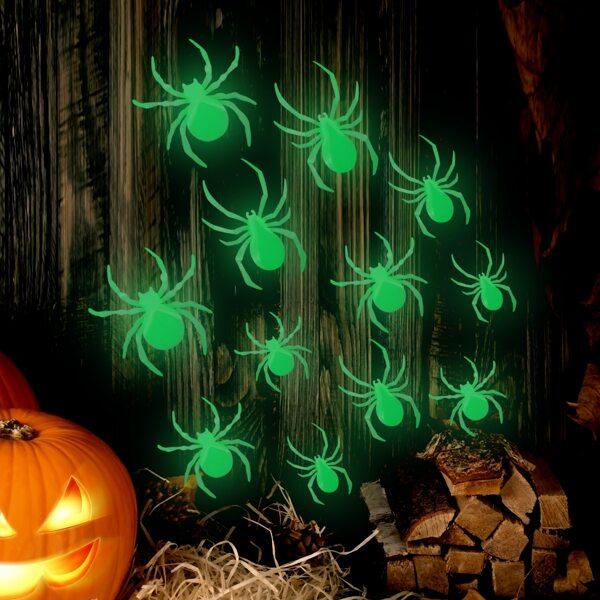 12pcs Spider Shaped Glow Sticker, Green