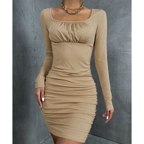 Scoop Neck Ruched Bodycon Dress, Camel