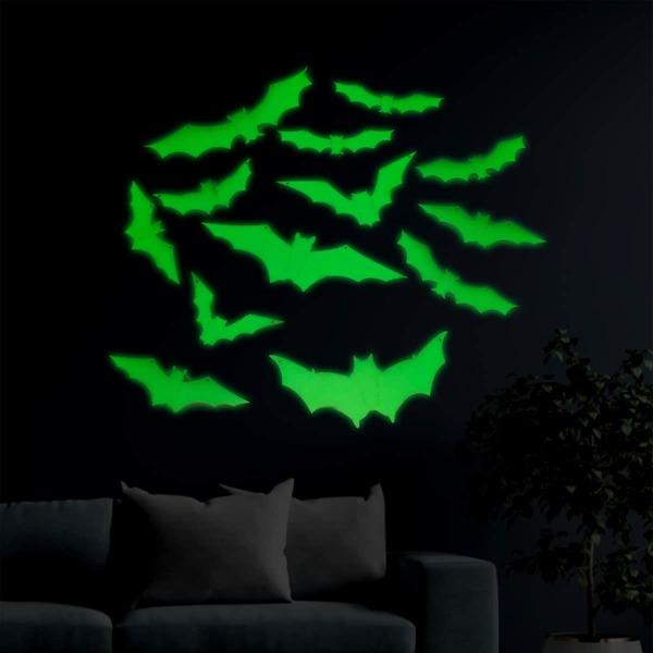 12pcs Bat Shaped Glow Sticker, Green