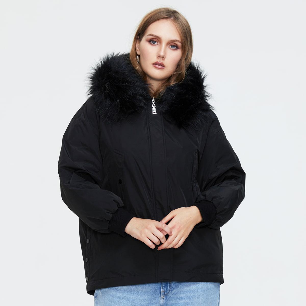 Plus Drawstring Waist Parka Winter Coats